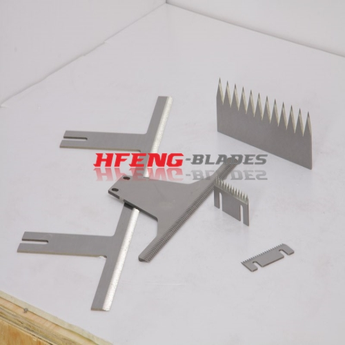 Food packaging toothed blades